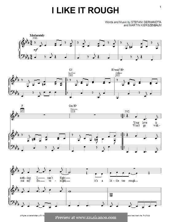 I Like It Rough (Lady Gaga): Para vocais e piano (ou Guitarra) by Martin Kierszenbaum, Stefani Germanotta