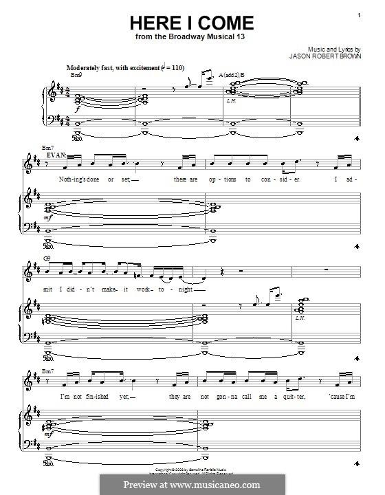 Here I Come: Para vocais e piano (ou Guitarra) by Jason Robert Brown