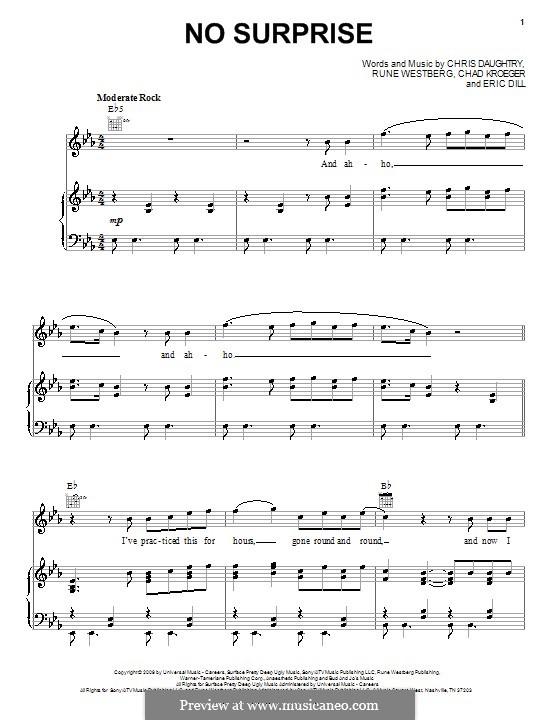 No Surprise (Daughtry): Para vocais e piano (ou Guitarra) by Chad Kroeger, Chris Daughtry, Eric Dill, Rune Westberg