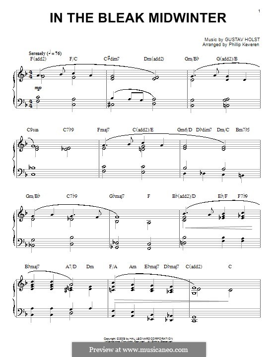 In the Bleak Midwinter: Para Piano by Gustav Holst