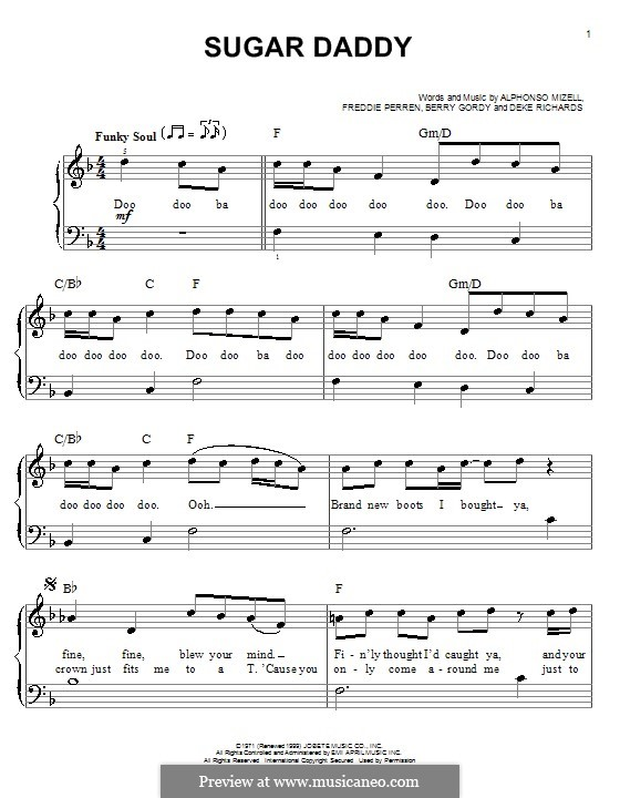 Sugar Daddy (The Jackson 5): Facil para o piano by Alphonso Mizell, Berry Gordy, Deke Richards, Freddie Perren