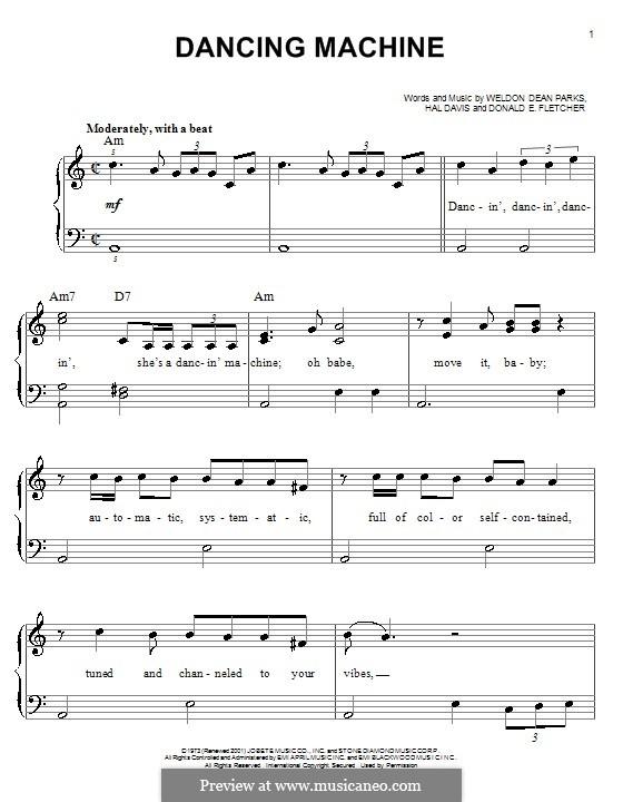 Dancing Machine (The Jackson 5): Facil para o piano by Donald E. Fletcher, Hal Davis, Weldon Dean Parks