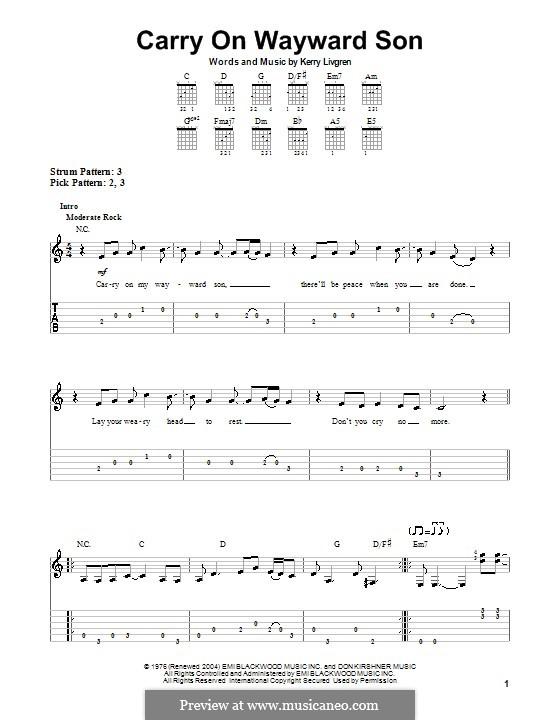 Carry on Wayward Son (Kansas): Para guitarra (versão facil) by Kerry Livgren