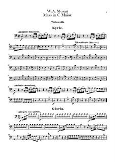 Coronation Mass No.15 in C Major, K.317: parte violoncelo by Wolfgang Amadeus Mozart