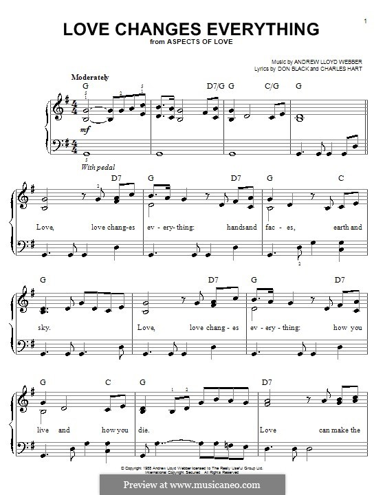 Love Changes Everything: Facil para o piano by Andrew Lloyd Webber