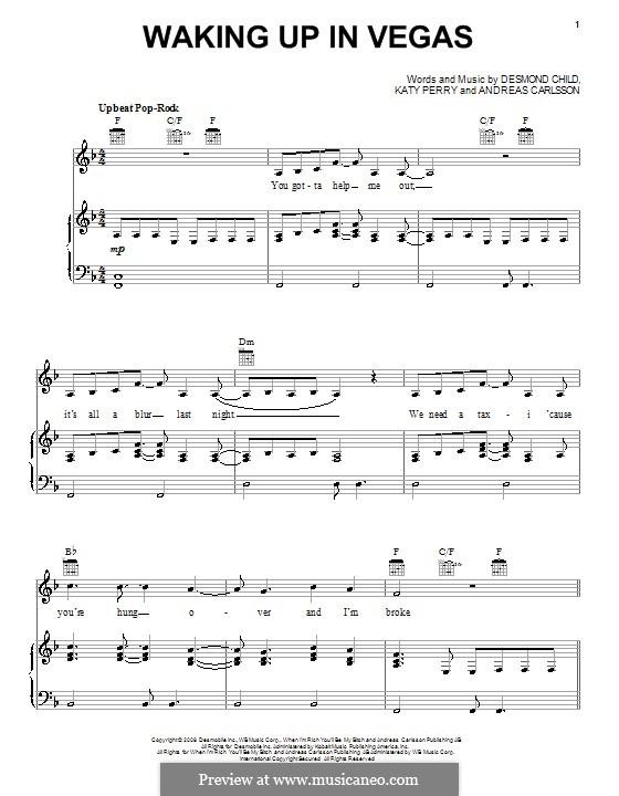 Waking Up in Vegas (Katy Perry): Para vocais e piano (ou Guitarra) by Andreas Carlsson, Desmond Child