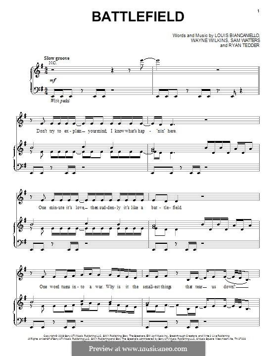 Battlefield (Jordin Sparks): Para vocais e piano (ou Guitarra) by Louis Biancaniello, Ryan B Tedder, Samuel Watters, Wayne Wilkins