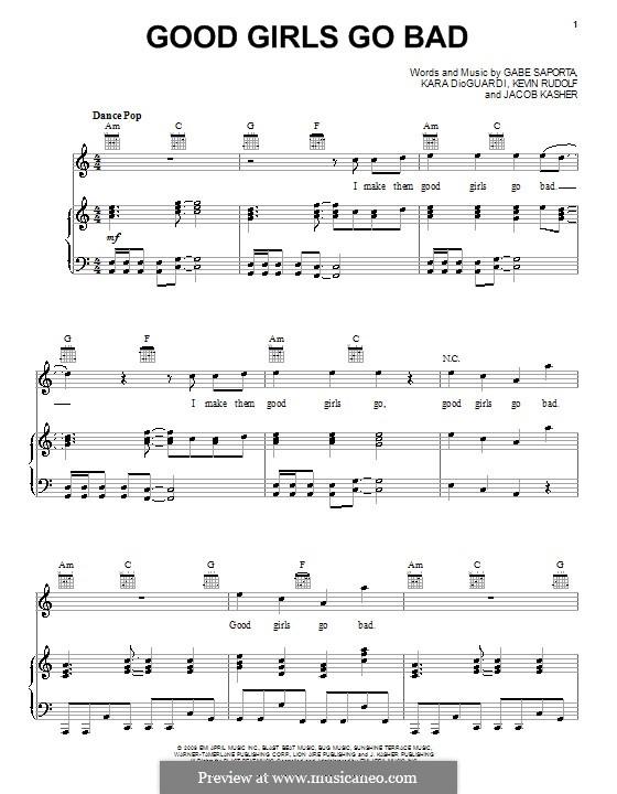 Good Girls Go Bad (feat. Leighton Meester): Para vocais e piano (ou Guitarra) by Gabe Saporta, Jacob Kasher Hindlin, Kara DioGuardi, Kevin Rudolf
