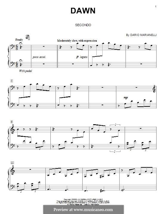 Dawn: para piano de quadro mãos by Dario Marianelli