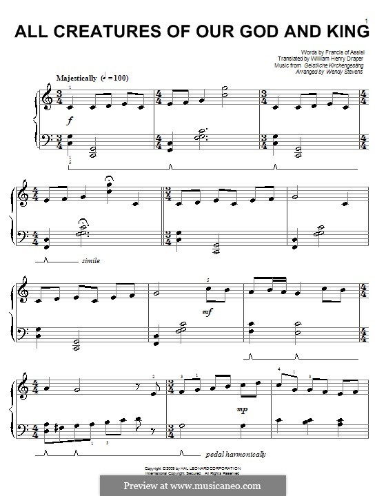 All Creatures of Our God and King: para piano (C maior) by Unknown (works before 1850)