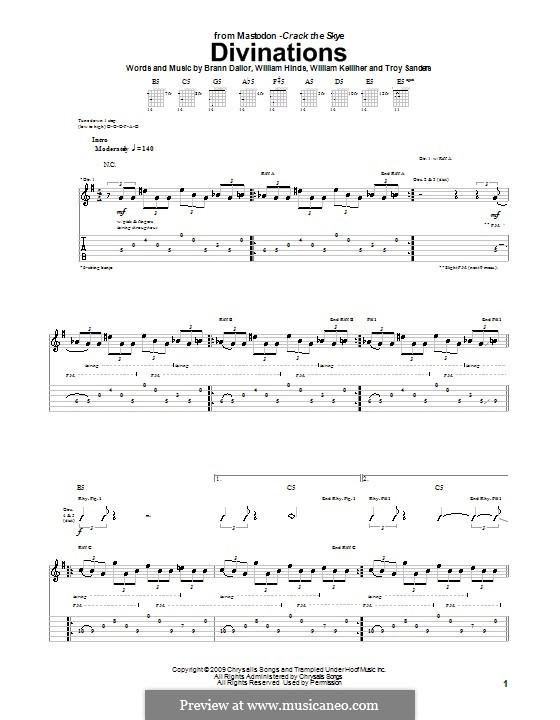 Divinations (Mastodon): Para guitarra com guia by Brann Dailor, Troy Sanders, William Hinds, William Kelliher