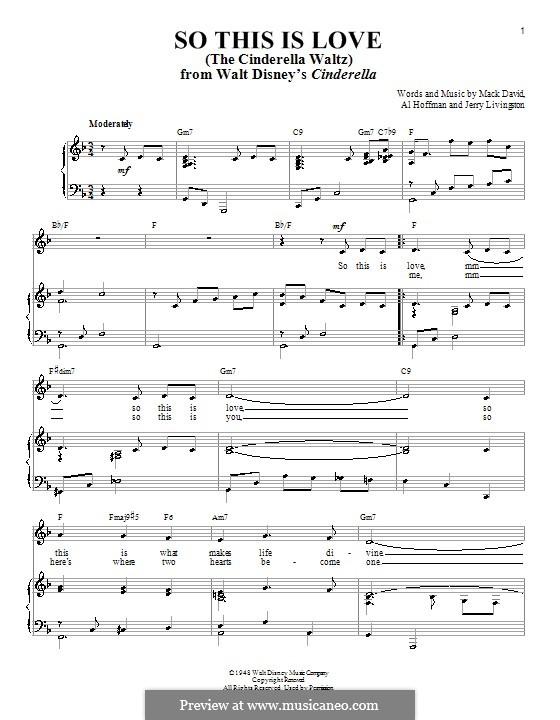 So This Is Love (The Cinderella Waltz): para voz, piano e guitarra (F Major) by Al Hoffman, Jerry Livingston, Mack David