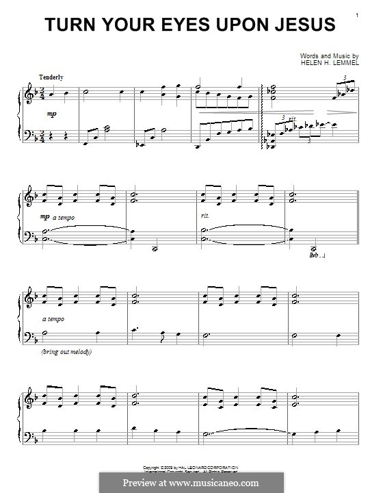 Turn Your Eyes Upon Jesus (The Newsboys): Para Piano by Helen H. Lemmel