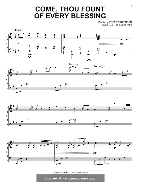 Come, Thou Fount of Every Blessing: Para Piano by John Wyeth
