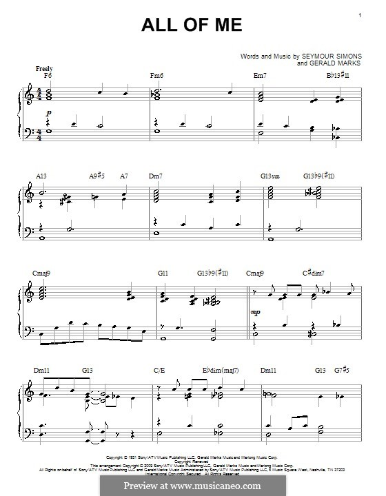 All of Me: Para Piano by Seymour Simons, Gerald Marks