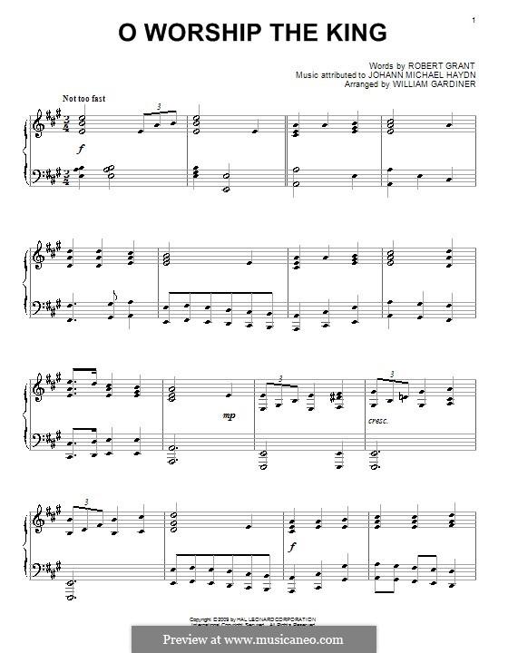 O Worship The King: Para piano (A maior) by Michael Haydn