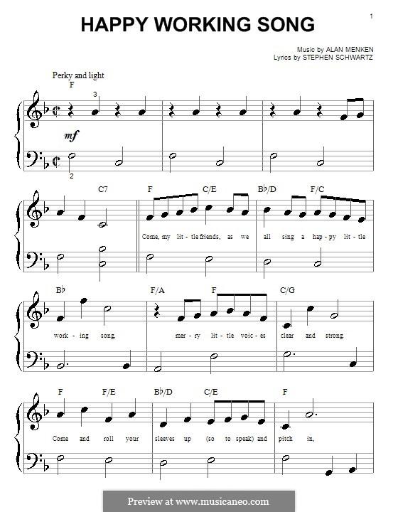Happy Working Song: para piano (versão facil) by Alan Menken