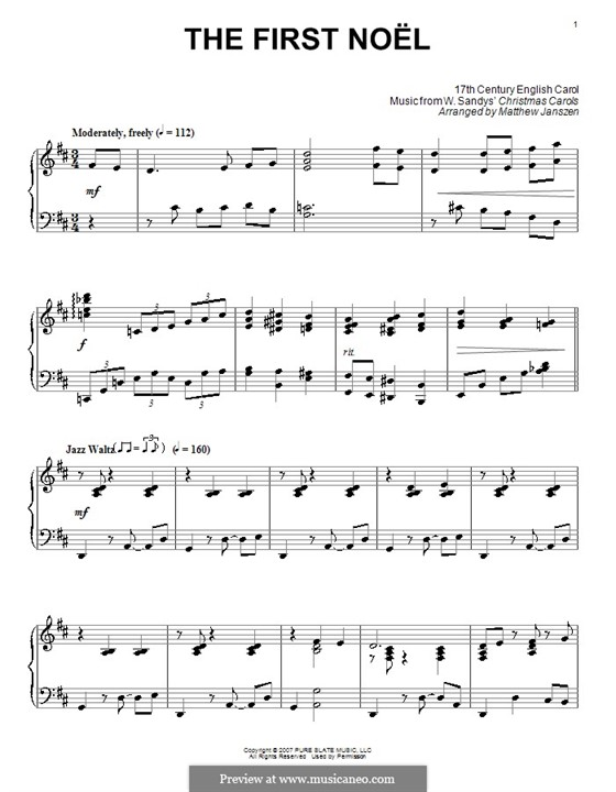The First Nowell (The First Noël), for Piano: Version by Janszen by folklore