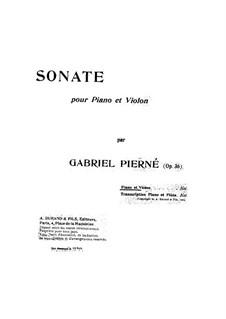 Sonata for Violin and Piano, Op.36: Serenata para violino e piano by Gabriel Pierné