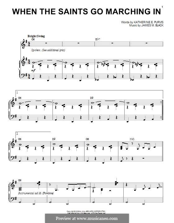 When the Saints Go Marching In: Para vocais e piano (ou Guitarra) by James Milton Black