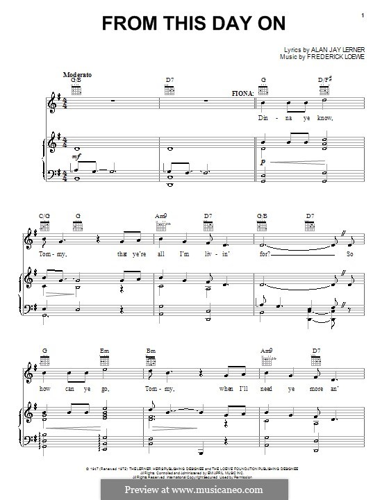 From This Day on: Para vocais e piano (ou Guitarra) by Frederick Loewe