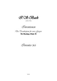 No.3 in D Major, BWV 774: para dois violinos, gravação e partes by Johann Sebastian Bach