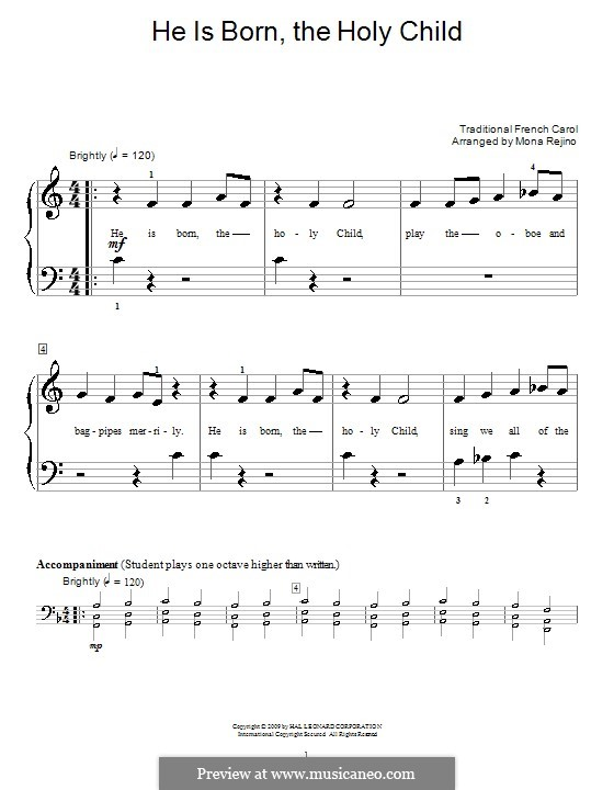 He Is Born, the Holy Child (Il est ne, le divin enfant): para piano (versão facil) by folklore