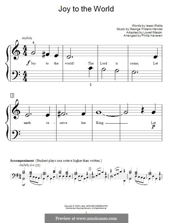 Joy to the World, for Piano: versão muito facil by Georg Friedrich Händel