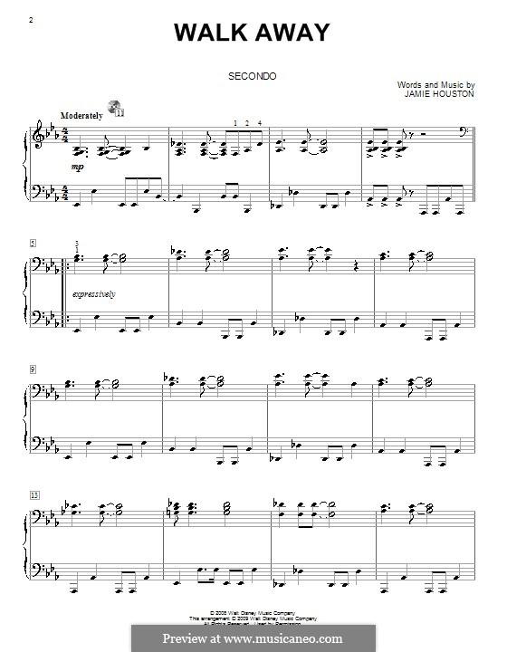 Walk Away (High School Musical 3): para piano de quadro mãos by Jamie Houston
