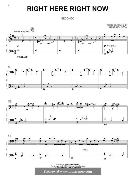 Right Here Right Now (High School Musical 3): para piano de quadro mãos by Jamie Houston