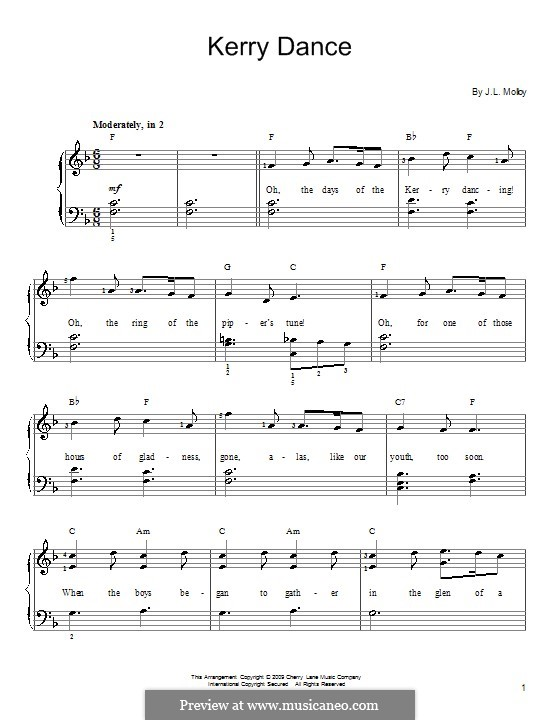 The Kerry Dance: Para Piano by James L. Molloy