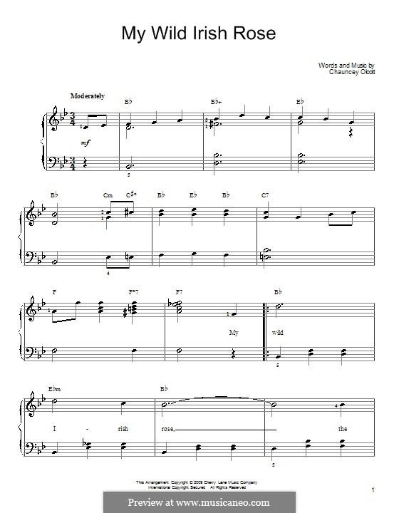 My Wild Irish Rose: Para Piano by Chauncey Olcott