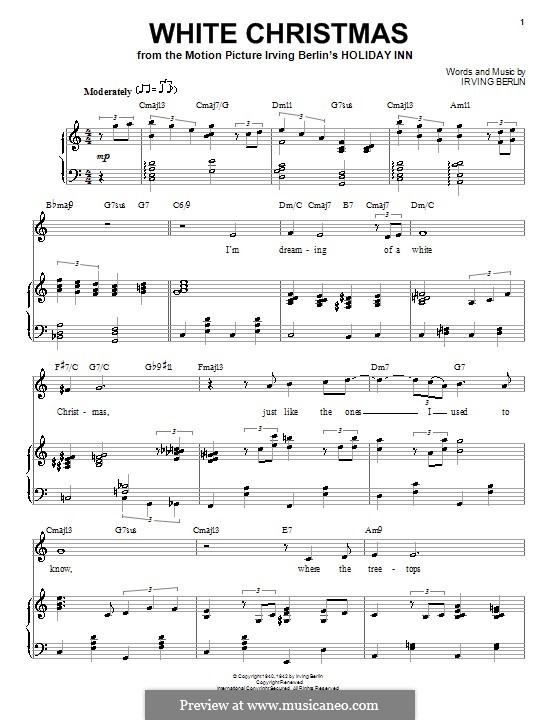 White Christmas: For voice and piano (or guitar) C Major by Irving Berlin