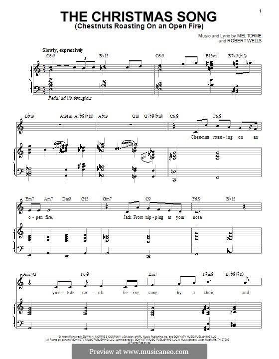 The Christmas Song (Chestnuts Roasting on an Open Fire): para voz e piano ou guitarra (Michael Buble) by Mel Tormé, Robert Wells