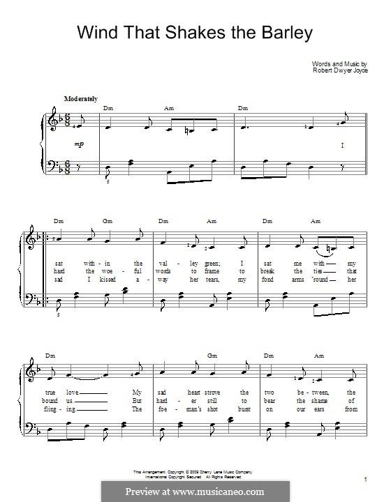 Wind That Shakes the Barley: Facil para o piano by Robert Dwyer Joyce