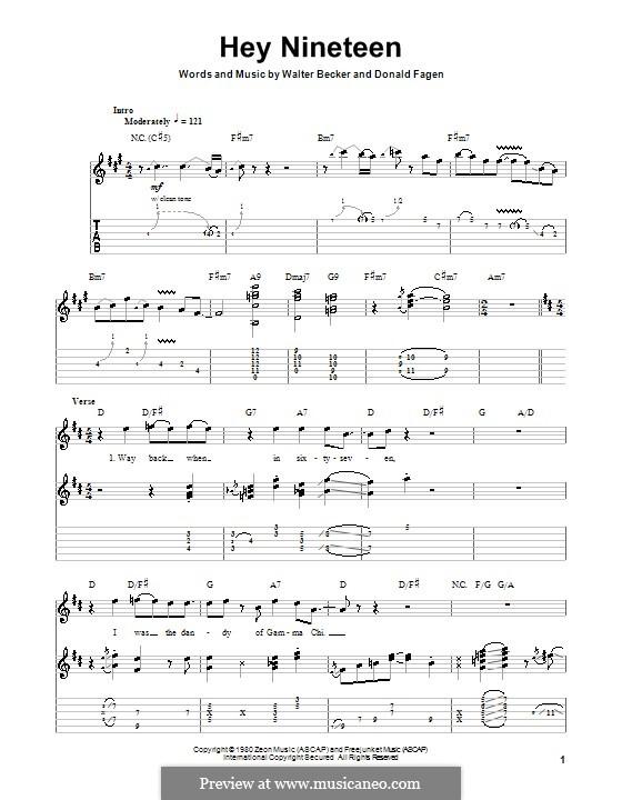 Hey Nineteen (Steely Dan): Para guitarra com guia by Donald Fagen, Walter Becker