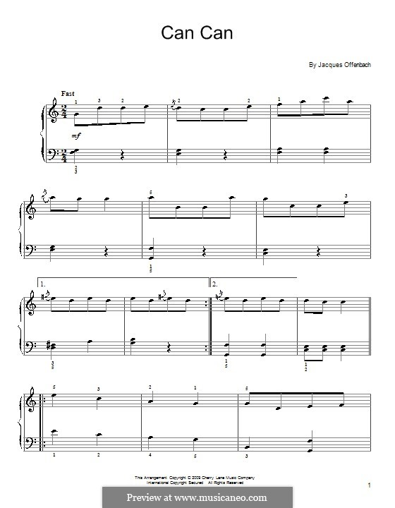 Can-Can (Printable Scores): versão facil para piano by Jacques Offenbach