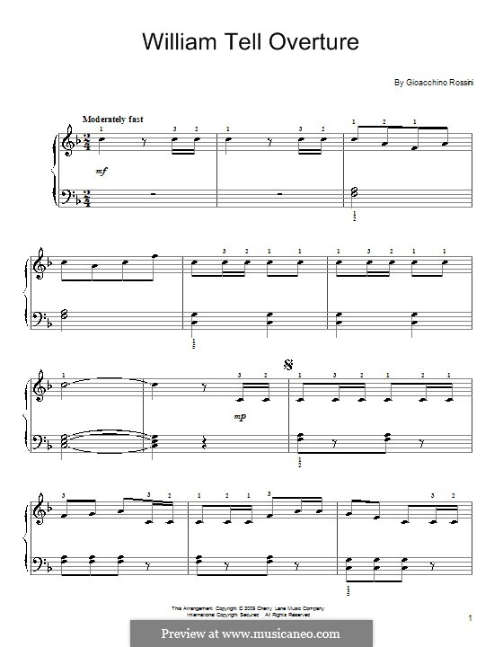 Overture (Printable Scores): Allegro vivace, for easy piano by Gioacchino Rossini