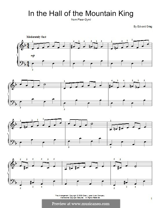 Suite No.1. In the Hall of the Mountain King (Printable Scores), Op.46 No.4: Facil para o piano by Edvard Grieg