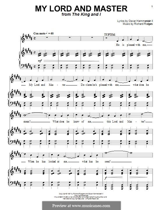 My Lord and Master (from The King and I): para vocais,piano ou guitarra by Richard Rodgers