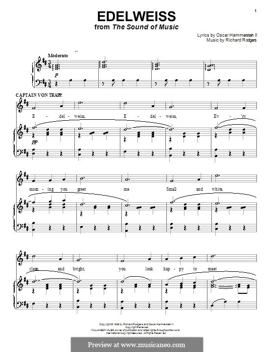 Edelweiss (from The Sound of Music): para voz e piano (D Maior) by Richard Rodgers