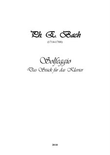 Solfeggietto, H 220 Wq 117:2: para piano (com dedilhado) by Carl Philipp Emanuel Bach