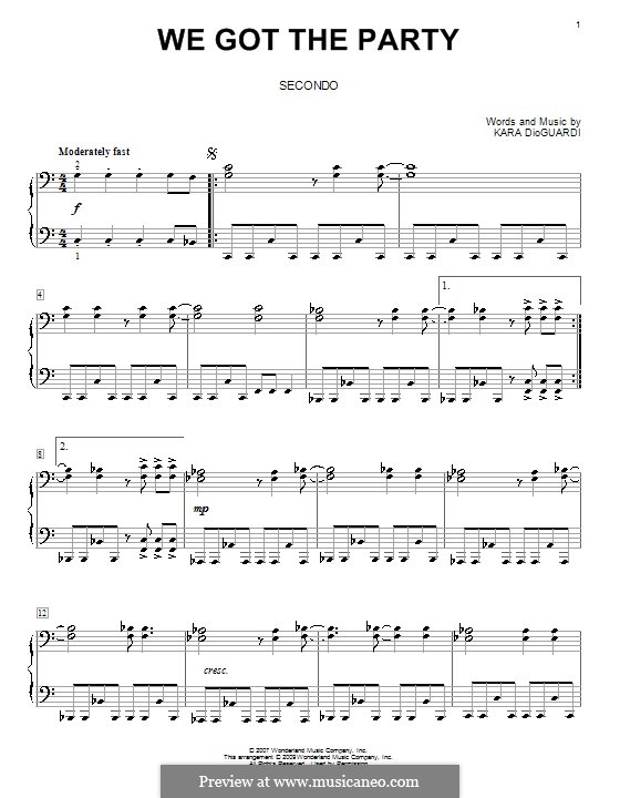 We Got the Party (Hannah Montana): para piano de quadro mãos by Kara DioGuardi