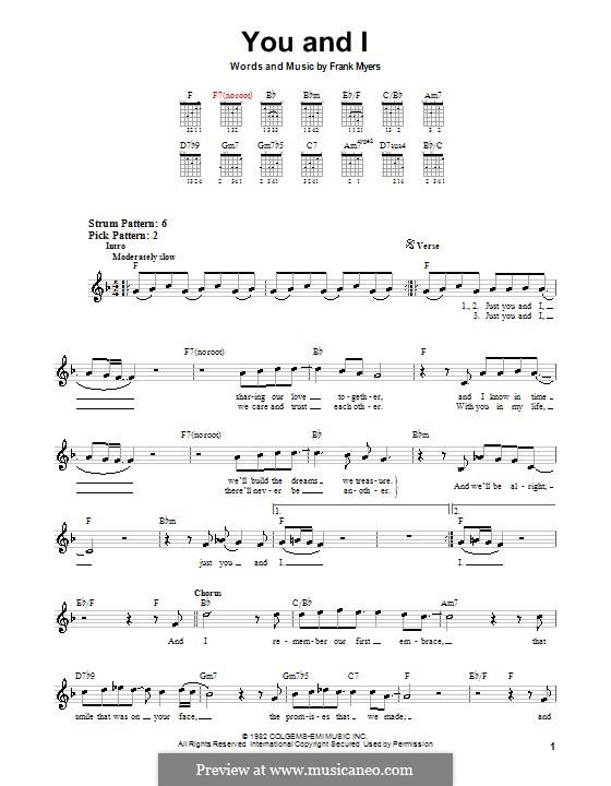 You and I (Eddie Rabbitt and Crystal Gayle): Para guitarra (versão facil) by Frank J. Myers