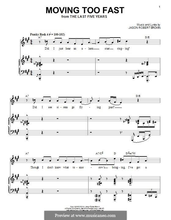 Moving Too Fast: Para vocais e piano (ou Guitarra) by Jason Robert Brown