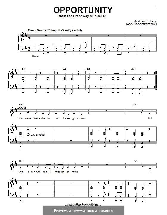 Opportunity: Para vocais e piano (ou Guitarra) by Jason Robert Brown