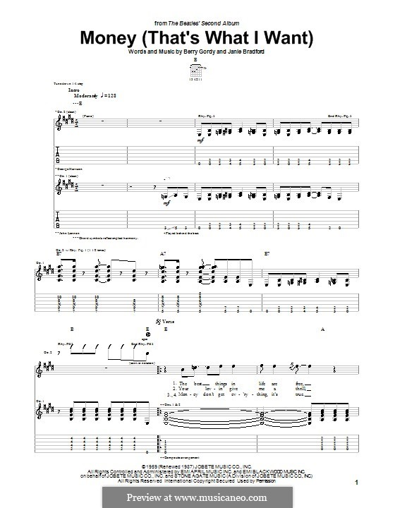Money (That's What I Want): For guitar with tab (The Beatles) by Berry Gordy, Janie Bradford