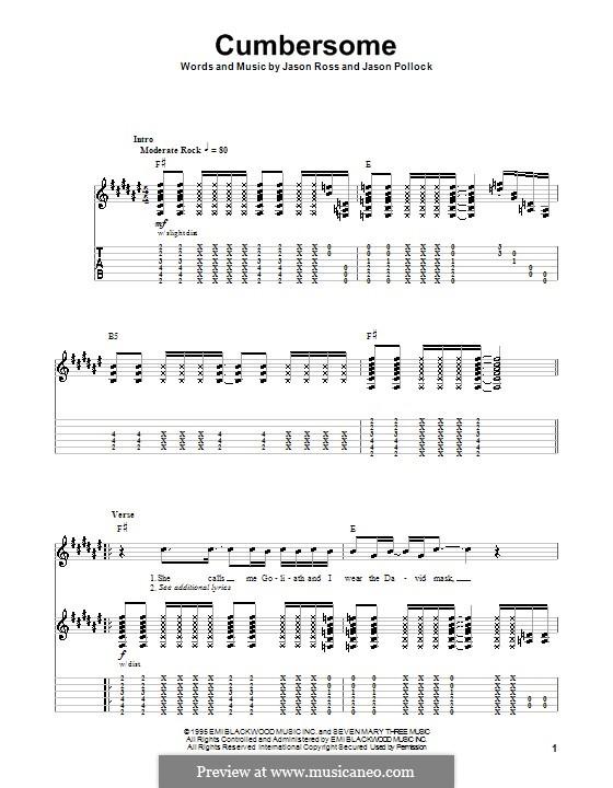 Cumbersome (Seven Mary Three): Para guitarra com guia by Jason Pollock, Jason Ross