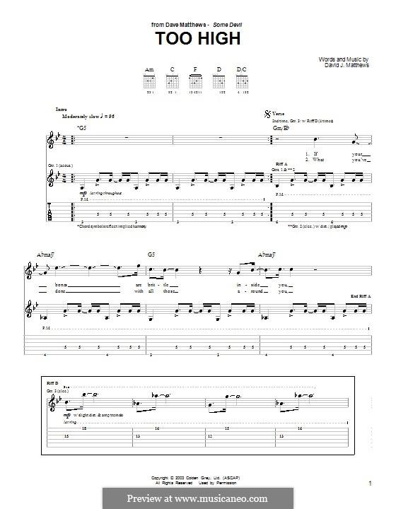 Too High: Para guitarra com guia by David J. Matthews