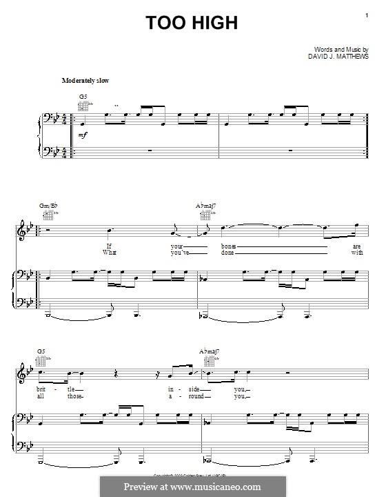 Too High: Para vocais e piano (ou Guitarra) by David J. Matthews
